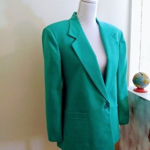 Teal green Single Button Structured Blazer